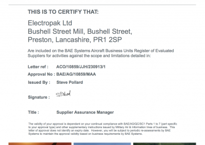 Certificate of Approval - BAE Systems